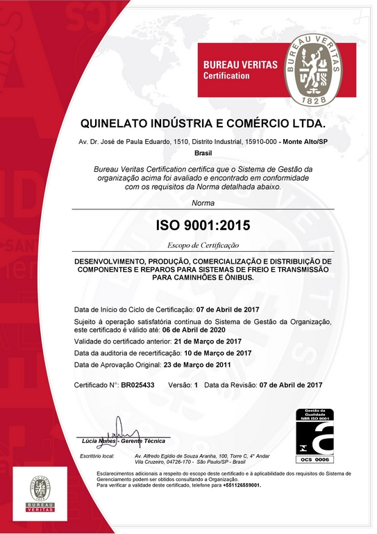 ISO 9001: 2015 CERTIFICATION CONFIRMS QUINELATO MANAGEMENT QUALITY